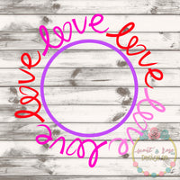 LOVE Monogram Frame SVG DXF PNG