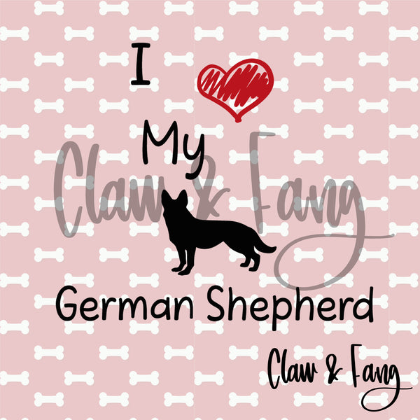 Love My German Shepherd Dog Cut File