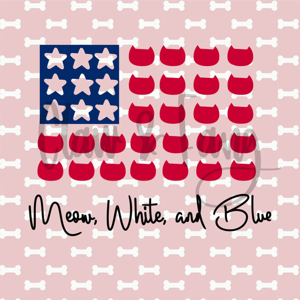 Meow White and Blue Stars Cut File