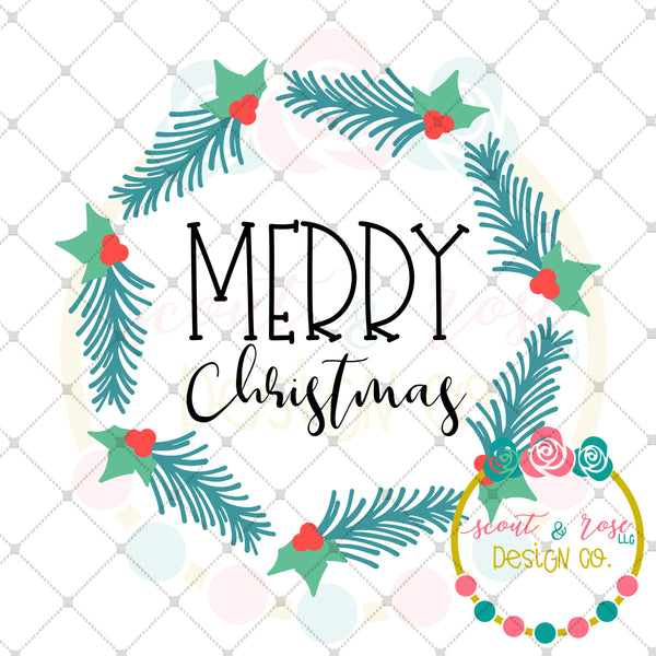 Merry Christmas Wreath SVG DXF PNG