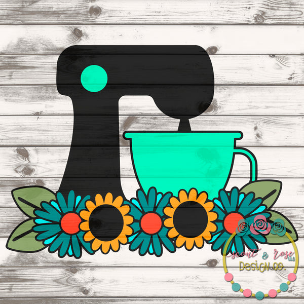 Stand Mixer Baking Floral SVG DXF PNG