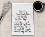 Molasses Egg Nog Recipe Tea Towel Cut File