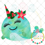 Christmas Narwhal Sublimation Design