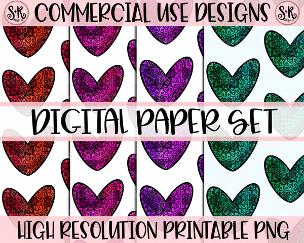 Valentines Day Heart Digital Paper Set (2020)