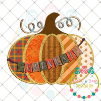 Patches Pumpkin Harvest Banner Printable Design