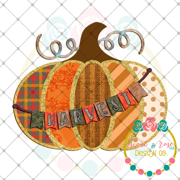 Patches Pumpkin Harvest Banner Sublimation Design