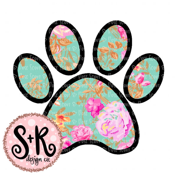 Floral Dog Paw Sublimation Design (2019)