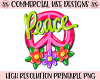 Peace Sign With Flowers Printable PNG (2020)