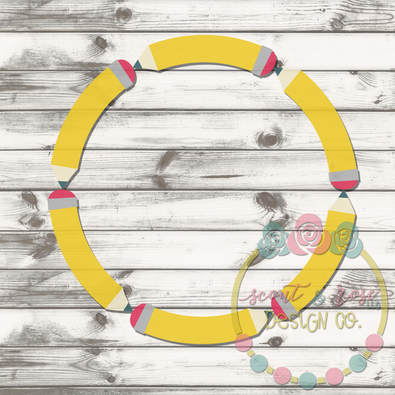 Pencil Monogram Frame 2 SVG DXF PNG