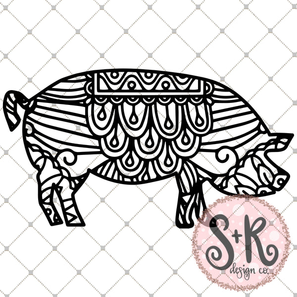 Hand Drawn Pig Zentangle SVG DXF PNG (2019)