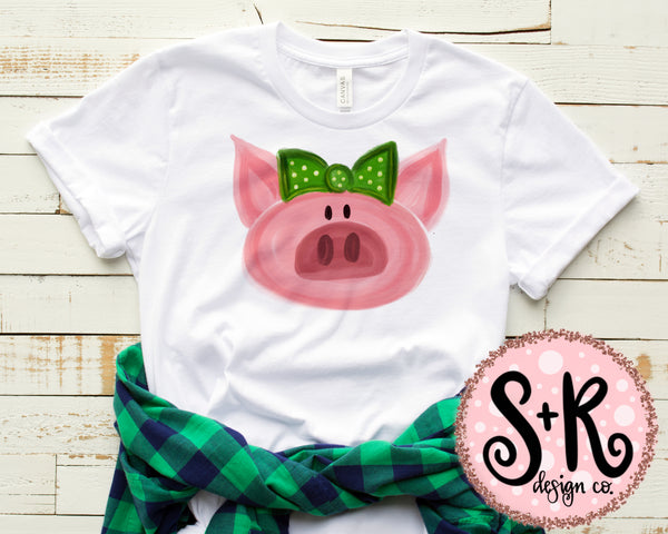 Baby Pig Green Bow Sublimation Design (2019)