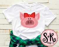 Baby Pig Red Bow Sublimation Design (2019)