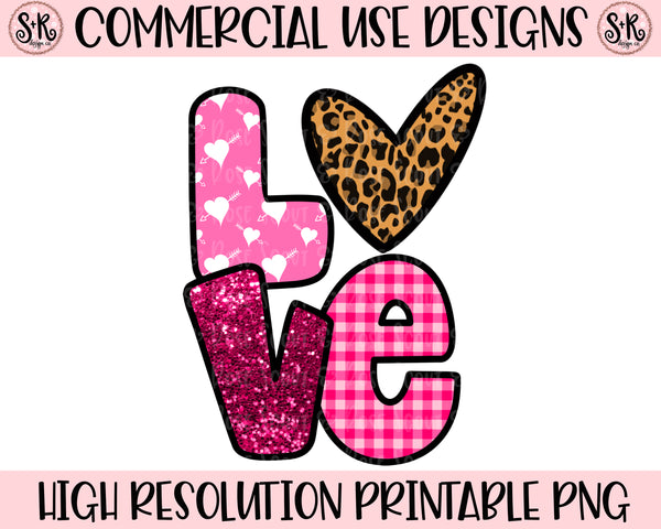 LOVE Animal Print Heart Printable Design (2020)