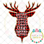Reindeer Names Plaid Silhouette Sublimation Design