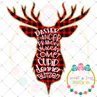 Reindeer Names Plaid Silhouette Printable Design