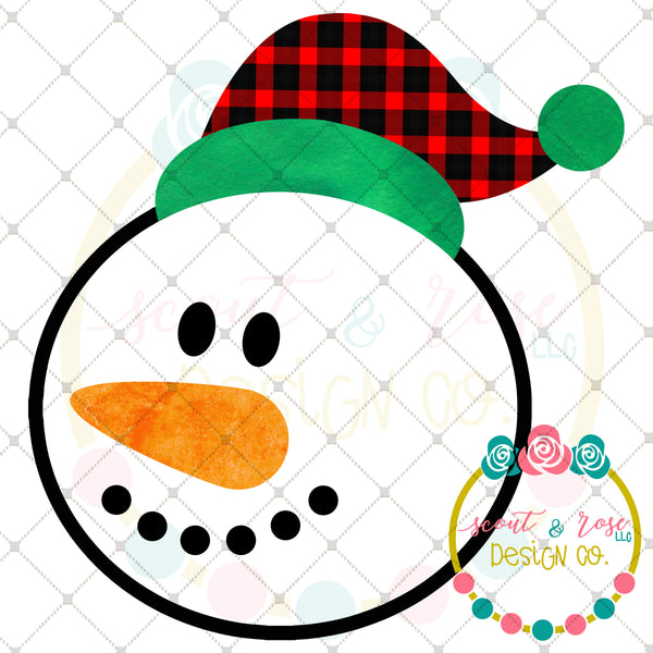 Buffalo Plaid Snowman Sublimation Design