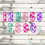 Polka Dotted Numbers Set SVG DXF PNG
