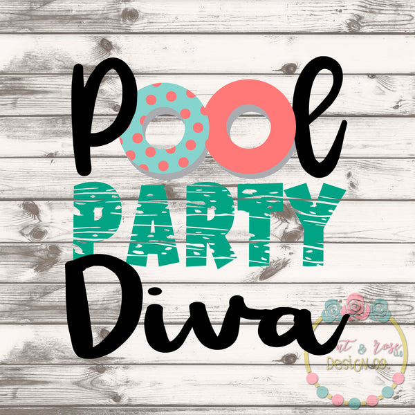 Pool Party Diva SVG DXF PNG