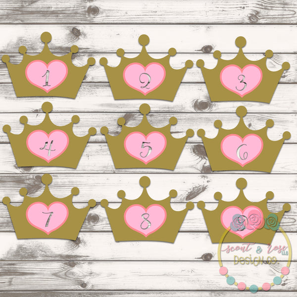 Princess Crown Number Set SVG DXF PNG