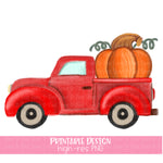 Handpainted Red Pumpkin Truck Printable Design (2019)