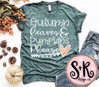 Autumn Leaves & Pumpkins Please SVG DXF PNG (2019)