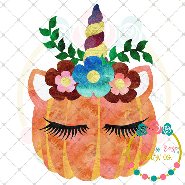 Pumpkin Unicorn Sublimation Design