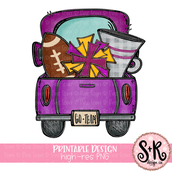 Purple & Gold Football Truck Printable Design (2019)