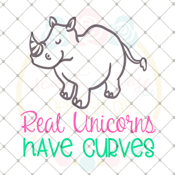 FREE SVG Real Unicorns Have Curves DXF PNG