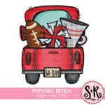 Red Football Truck Printable Design (2019)