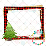 Christmas Tree Plaid and Gold Frame Printable Design