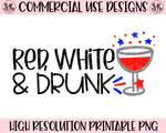 Red White & Drunk Patriotic SVG DXF PNG (2019)