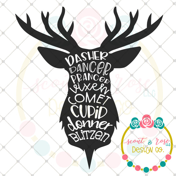 Reindeer Names Silhouette SVG DXF PNG
