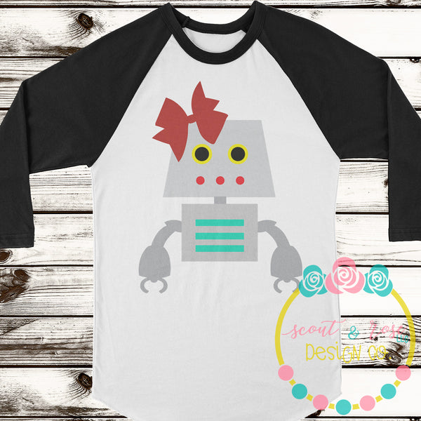 Robot with Bow SVG DXF PNG