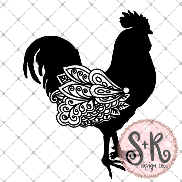 Hand Drawn Rooster Silhouette Zentangle Wing SVG DXF PNG (2019)