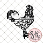Hand Drawn Rooster Zentangle SVG DXF PNG (2019)
