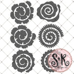 Set of 6 Rolled Flower Set SVG DXF PNG
