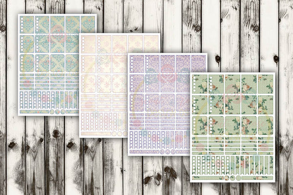 Shabby Chic Planner Stickers SVG DXF PNG
