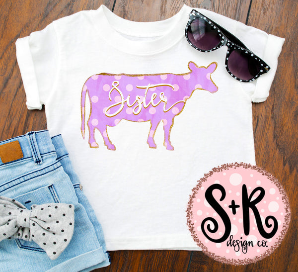 Sister Polka Dot Cow Sublimation/Printable PNG Design (2019)