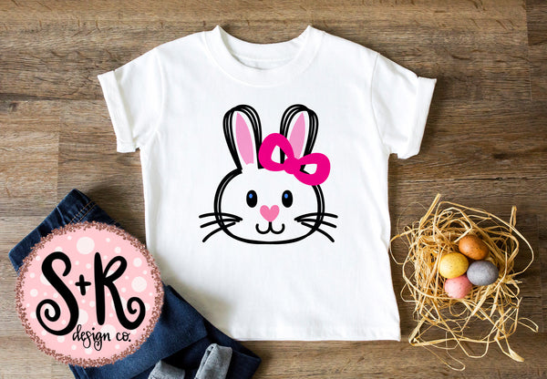 Sketchy Girl Easter Bunny SVG DXF PNG