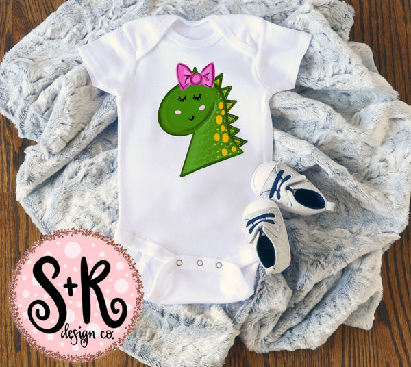 Little Dino with Bow Sublimation Design (2019)