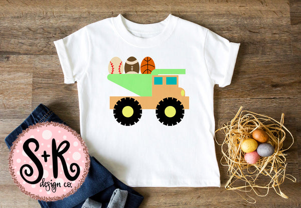 Sports Easter Egg Dump Truck SVG DXF PNG