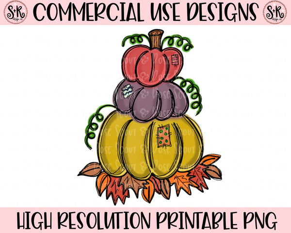 Stacked Pumpkin Trio Printable Design (2019)
