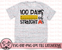 100 Days of Straight A's SVG DXF PNG (2019)