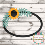 Sunflower Monogram Frame SVG DXF PNG