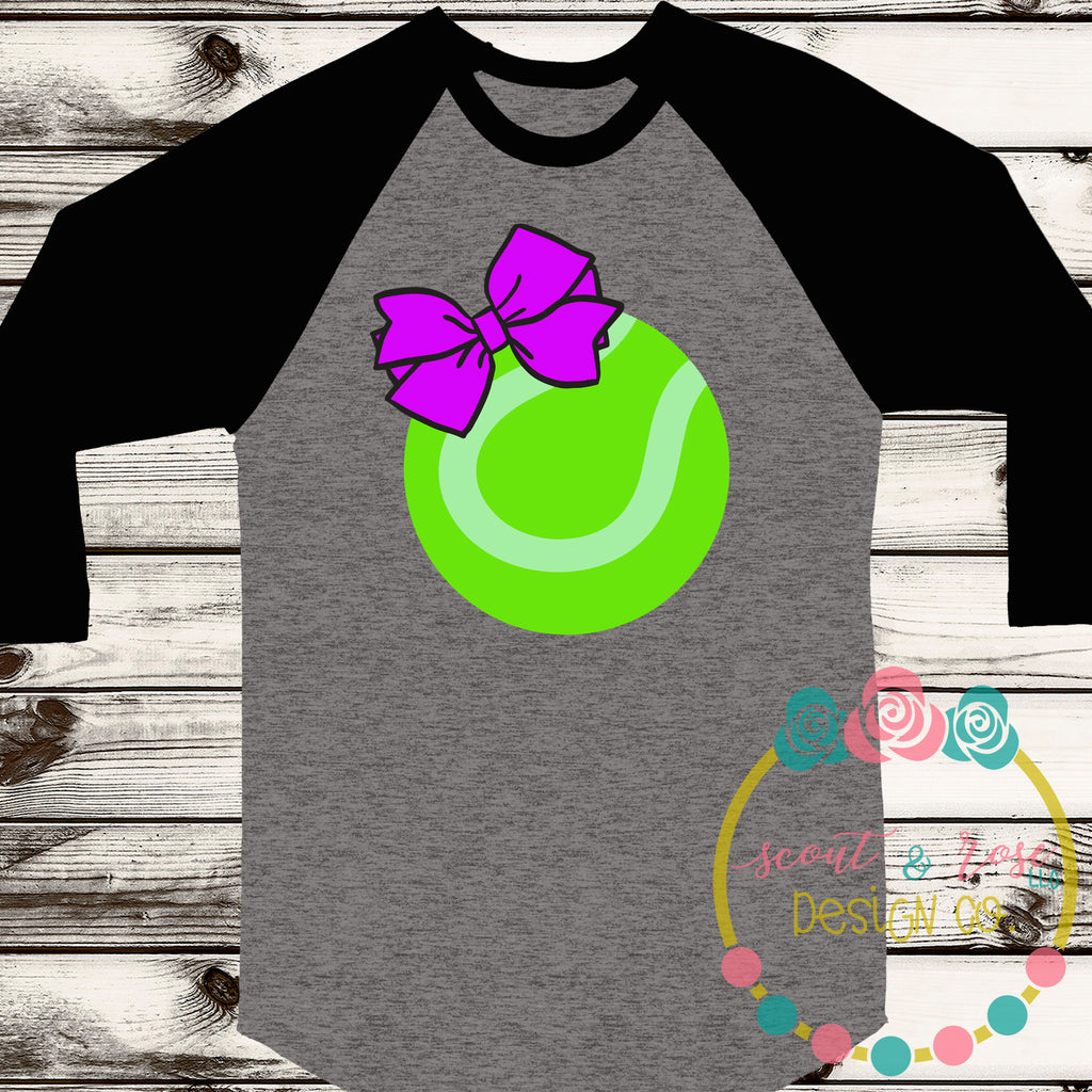 Tennis Ball with Bow SVG DXF PNG