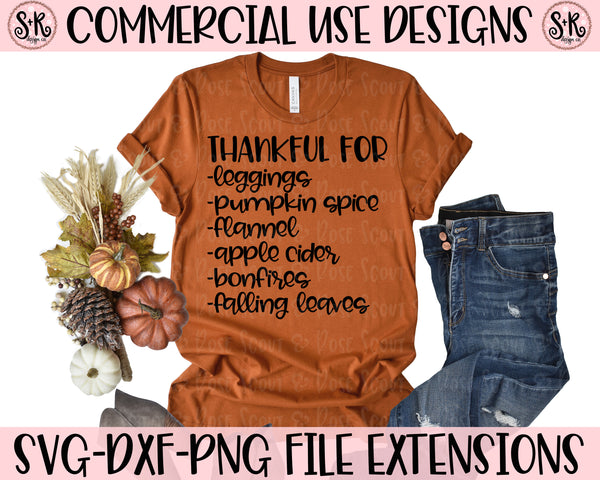Thankful For List SVG DXF PNG (2019)