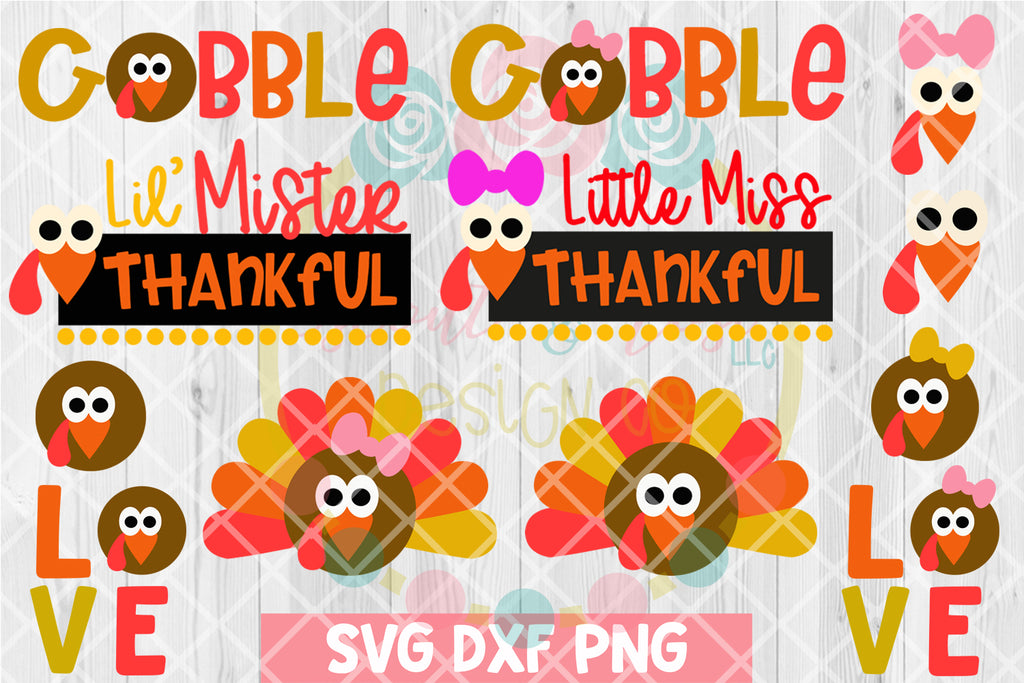 Kids Thanksgiving Turkey Bundle SVG DXF PNG 12 Cutting Files