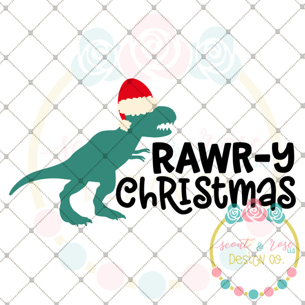 T-Rex Rawr-y Christmas SVG DXF PNG