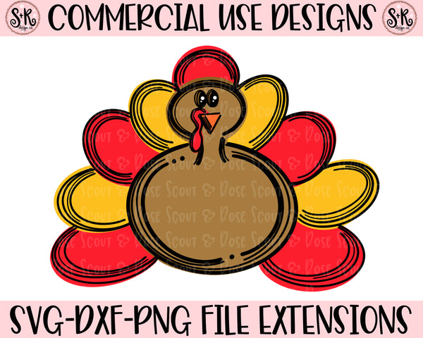 Thanksgiving Turkey Doodle (Layered) SVG DXF PNG 2019