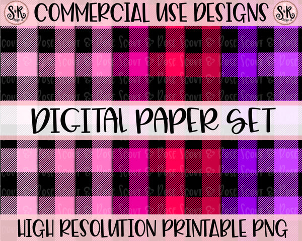 Valentines Day Buffalo Plaid Digital Paper Set (2019)